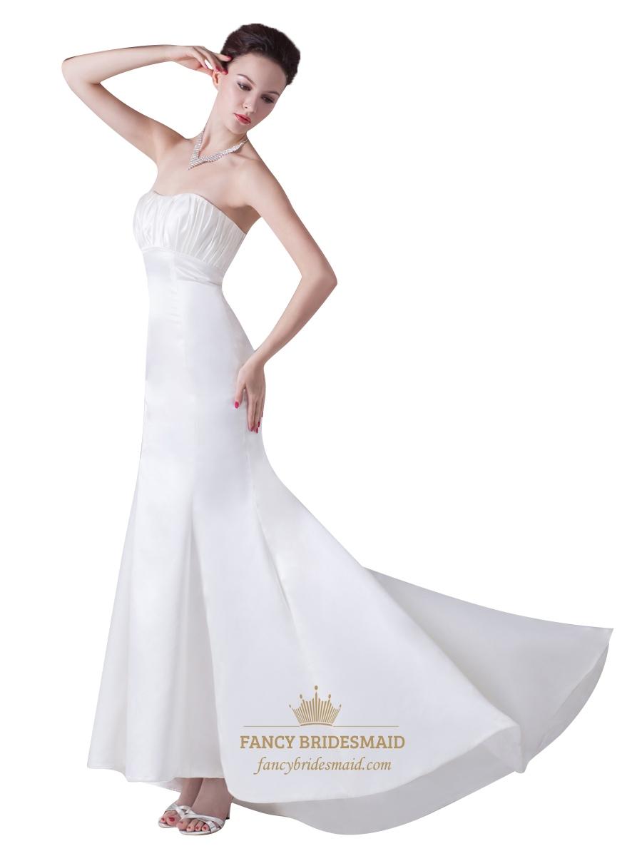 Ivory mermaid strapless ruched bodice empire waist for Ivory empire waist wedding dress