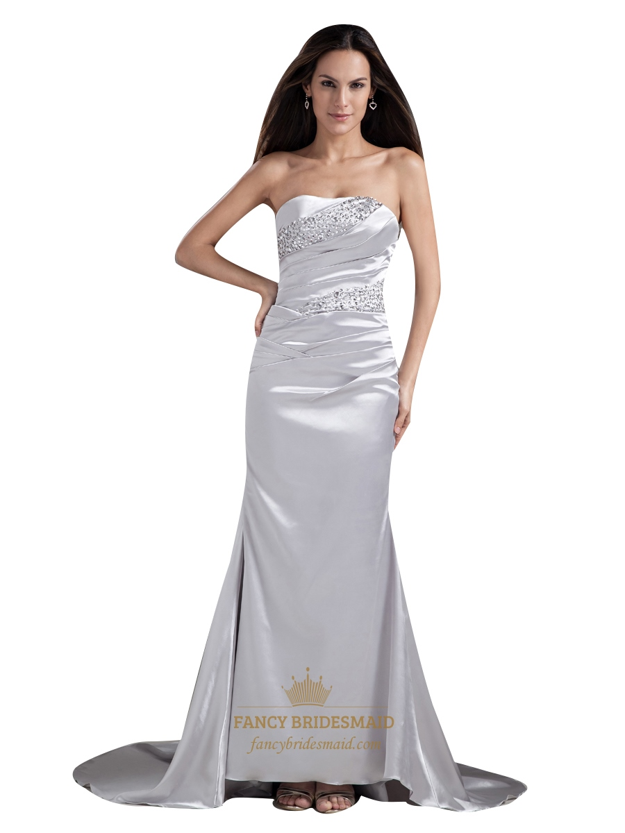 Silver Strapless Sheath Embellished Beaded Sweep Train
