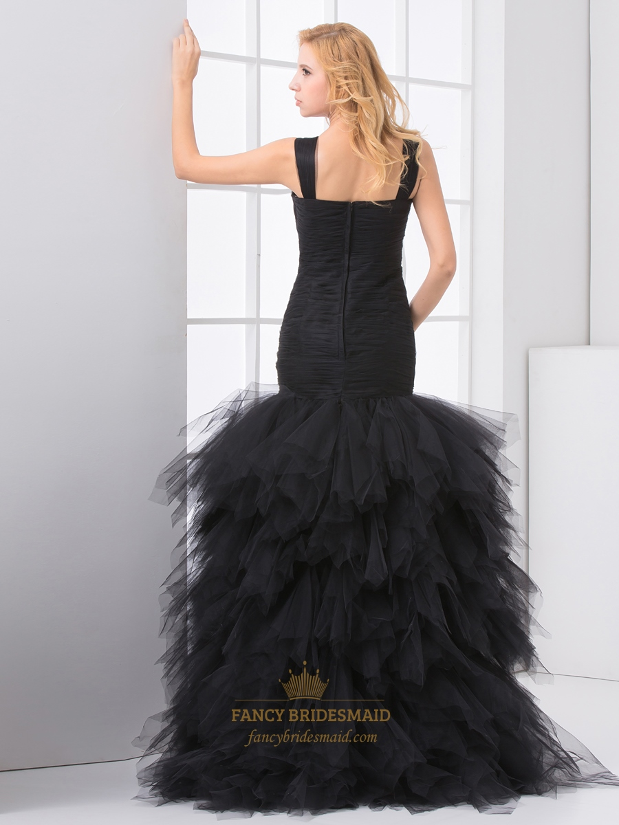 Black Mermaid Tulle Ruched Bodice Prom Dress With Ruffle