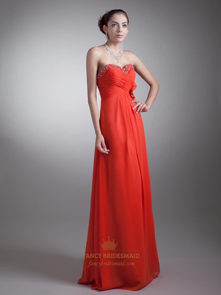 Orange Chiffon Beaded Sweetheart Bridesmaid Dresses With
