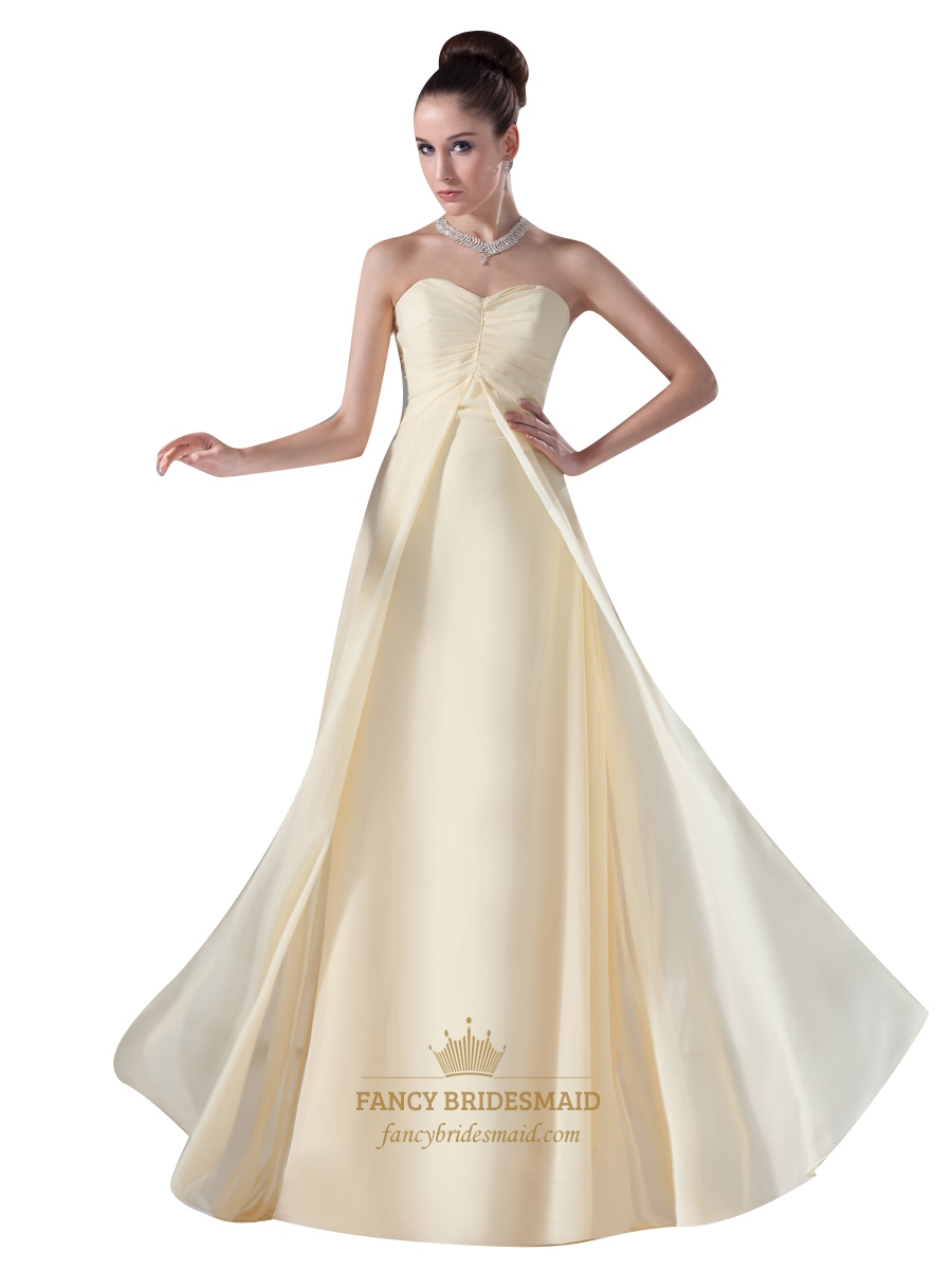 Flowy Pale Yellow Sweetheart Empire Floor Length Bridesmaid Dress