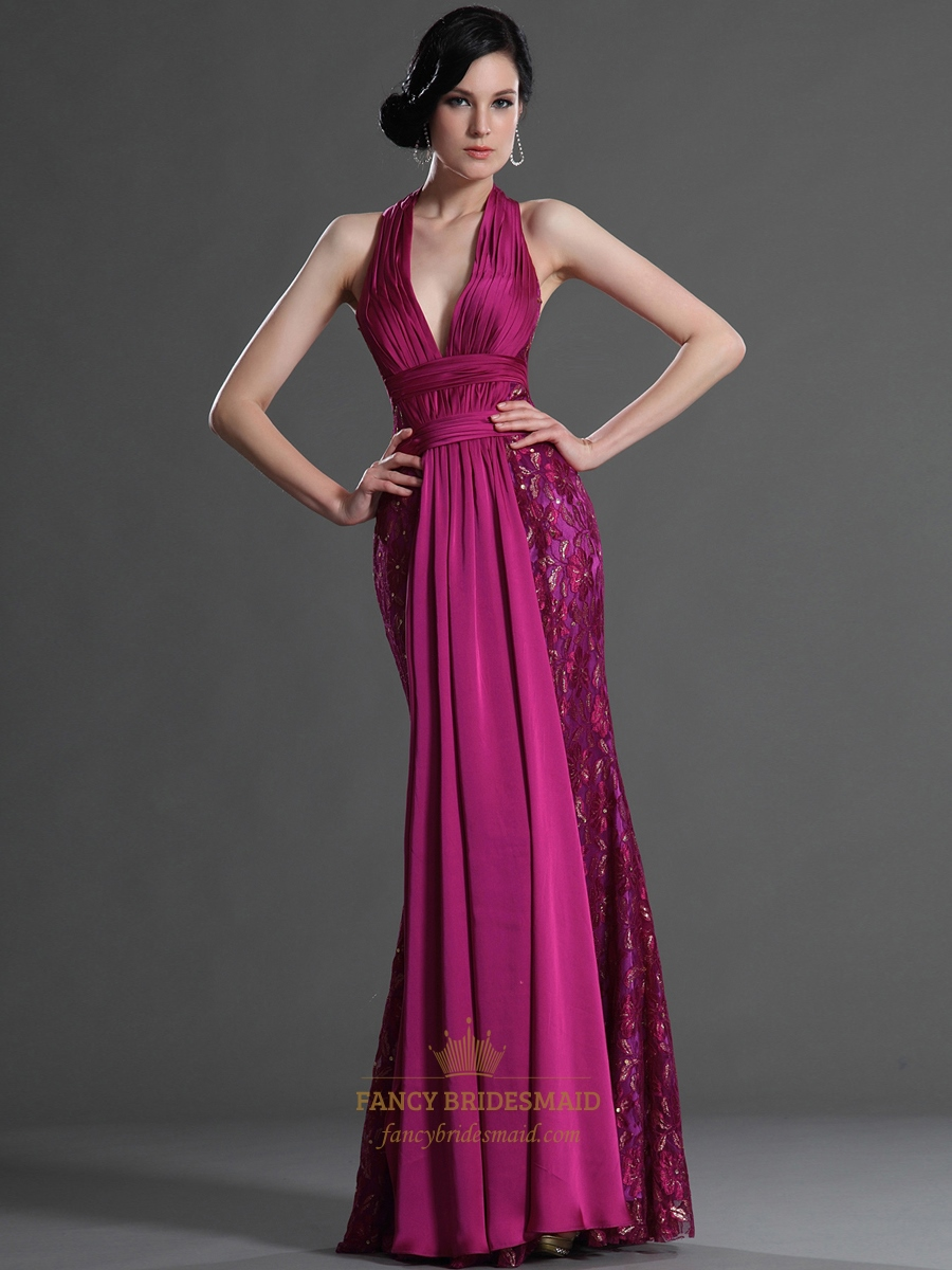 Hot Pink Chiffon And Lace Halter Deep V Neck Mermaid Prom
