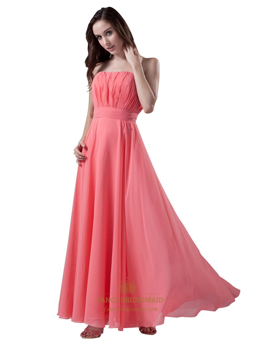 Coral Strapless Chiffon Floor Length Bridesmaid Dresses Beach ...