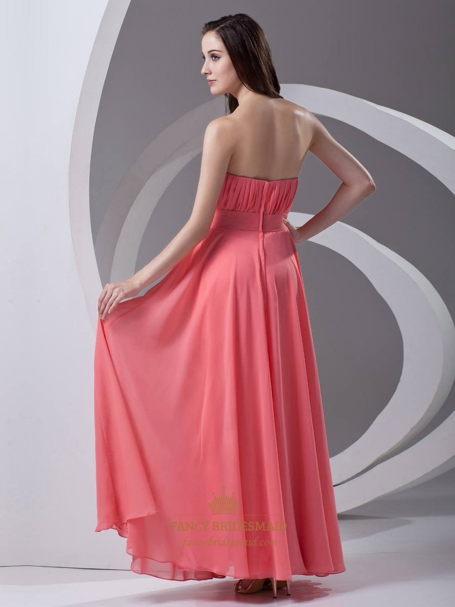 Coral Strapless Chiffon Floor Length Bridesmaid Dresses ...