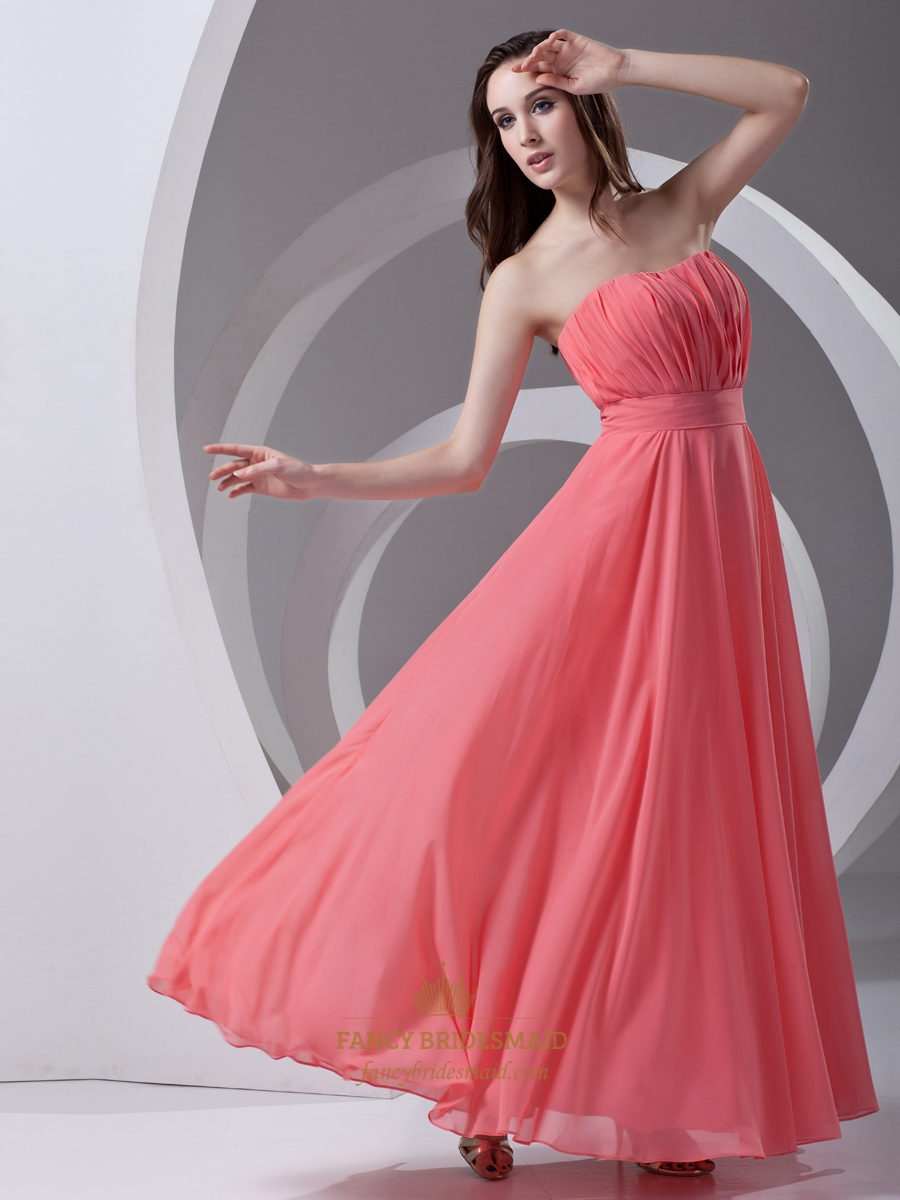 Coral strapless chiffon floor length bridesmaid dresses for Beach chiffon wedding dress