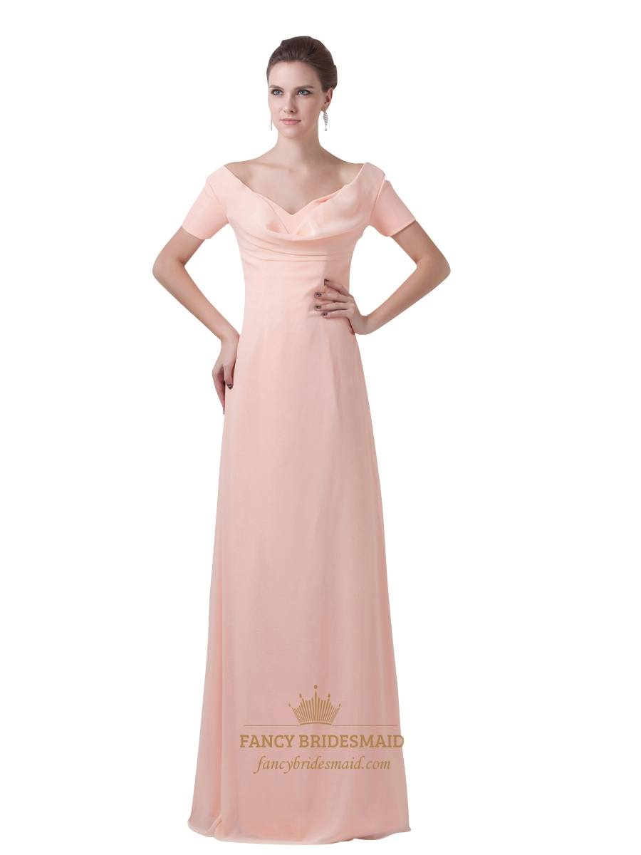 Peach Chiffon Sheath V Neck Bridesmaid Dresses With Short Sleeves ...