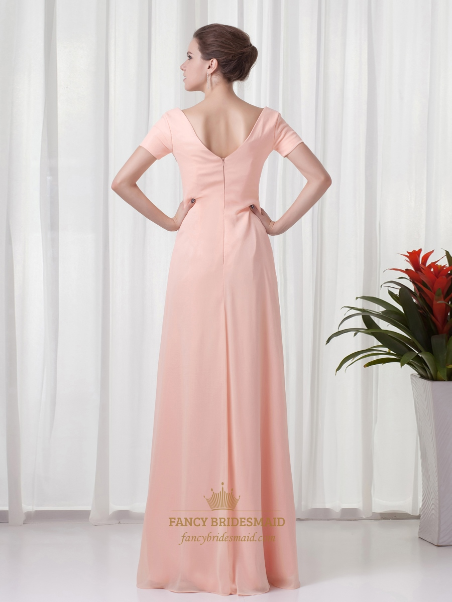 Peach Chiffon Sheath V Neck Bridesmaid Dresses With Short