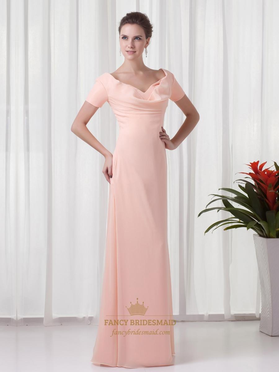 Peach chiffon sheath v neck bridesmaid dresses with short sleeves peach chiffon sheath v neck bridesmaid dresses with short sleeves ombrellifo Choice Image