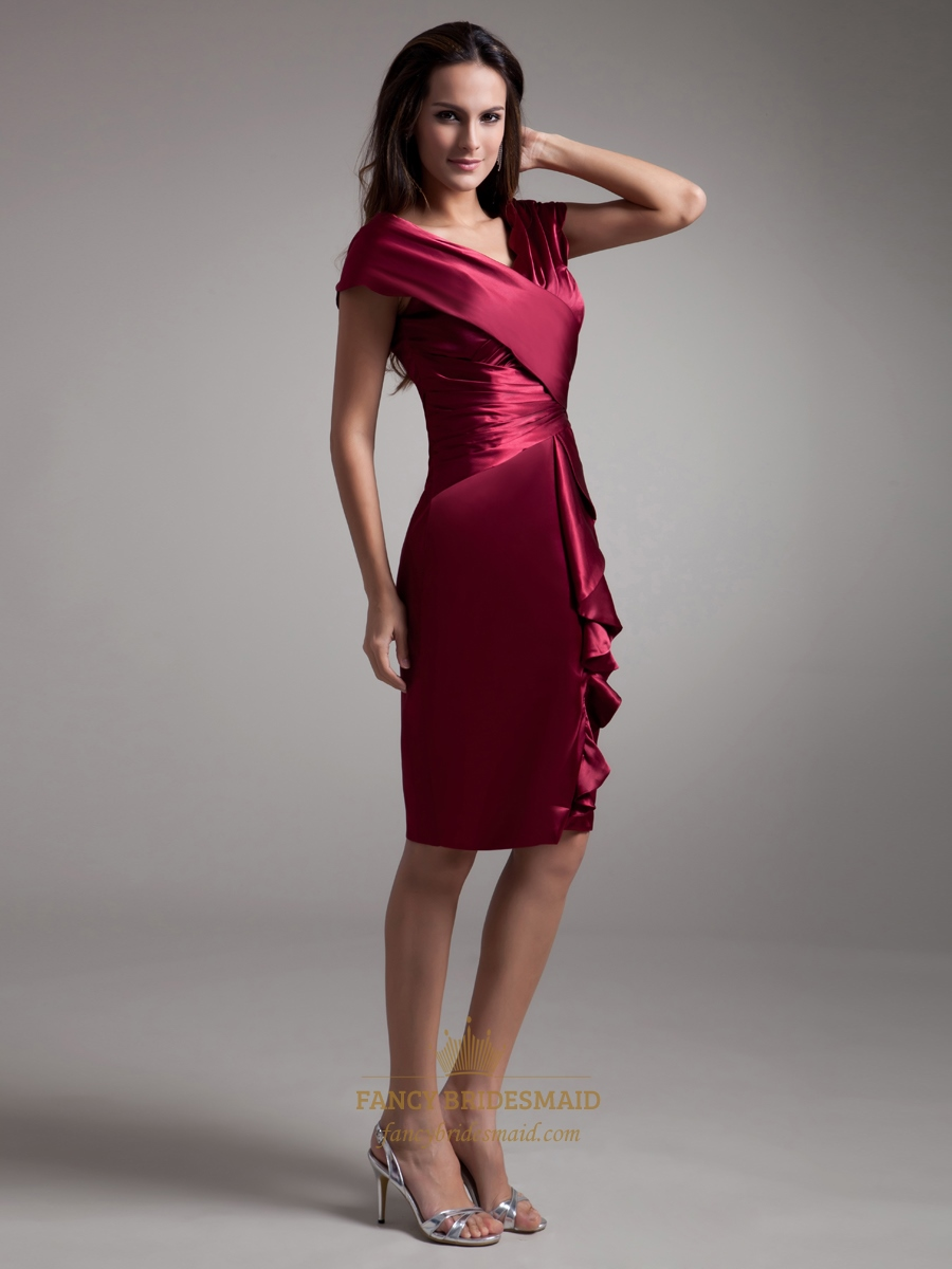 Burgundy V Neck Sheath Knee Length Cocktail Dresses With