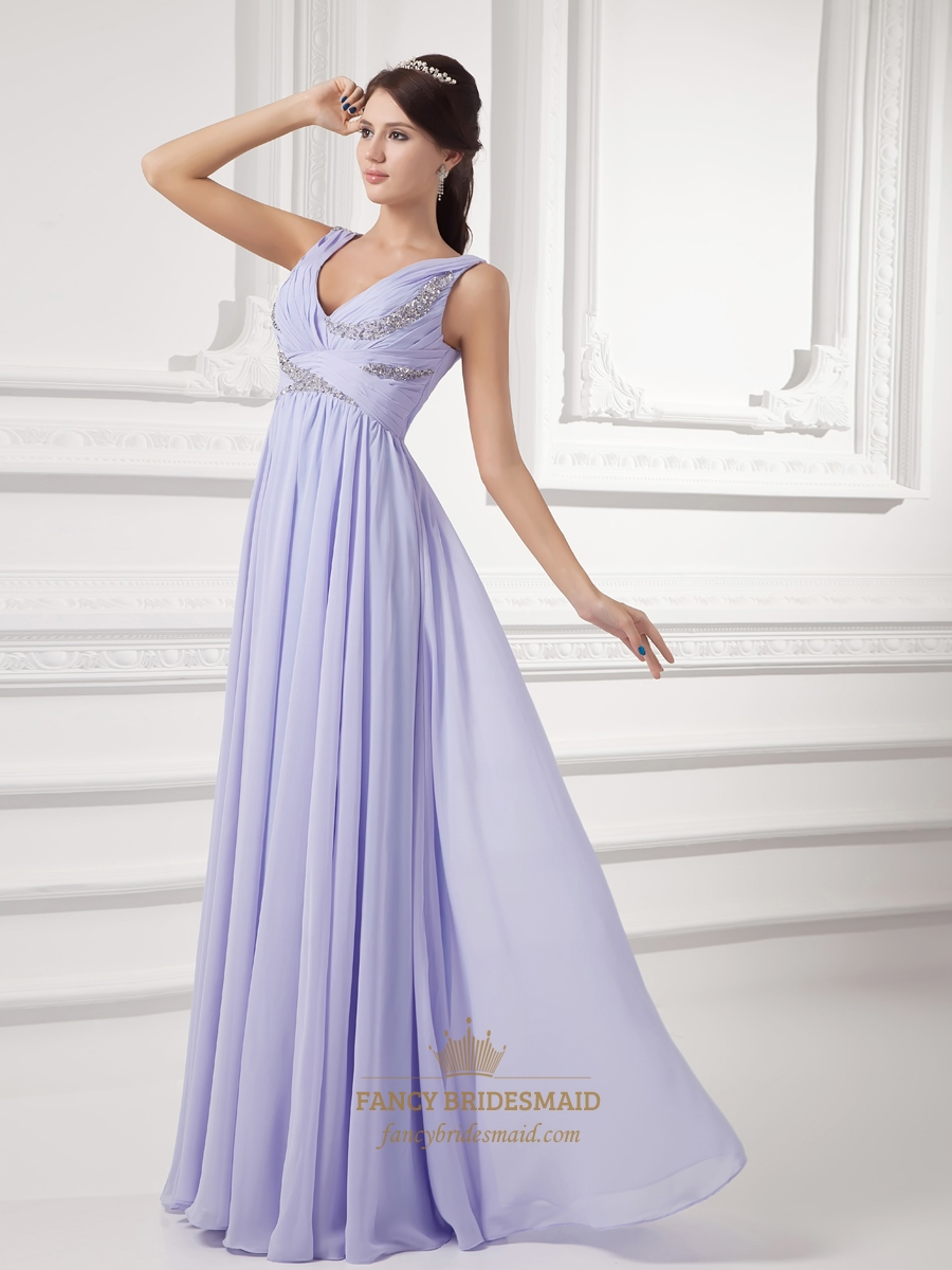 Lilac V Neck Chiffon Ruched Bodice Bridesmaid Dresses With