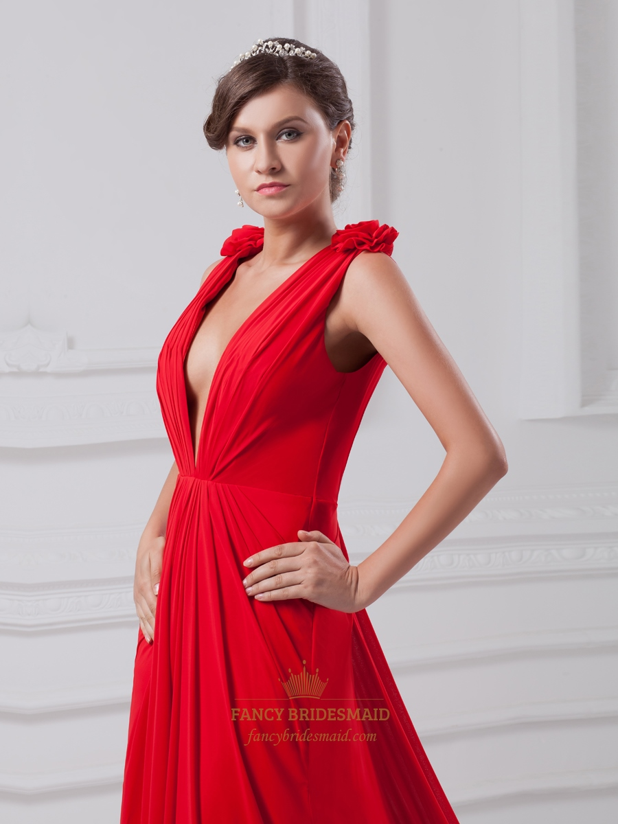 Red Deep V Neck Open Back Ruched Chiffon Prom Dress With