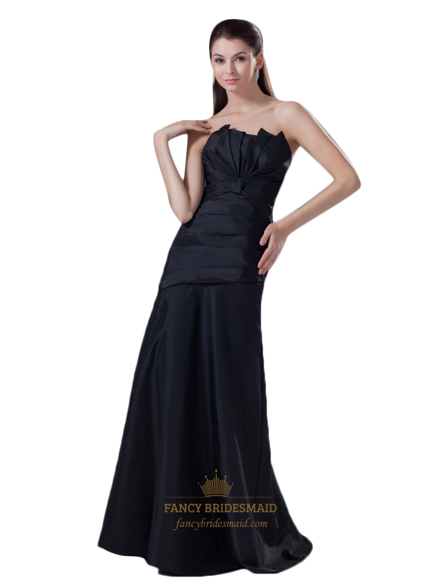 Black strapless drop waist ruched prom dress with gathered for Wedding dresses with ruching and dropped waist
