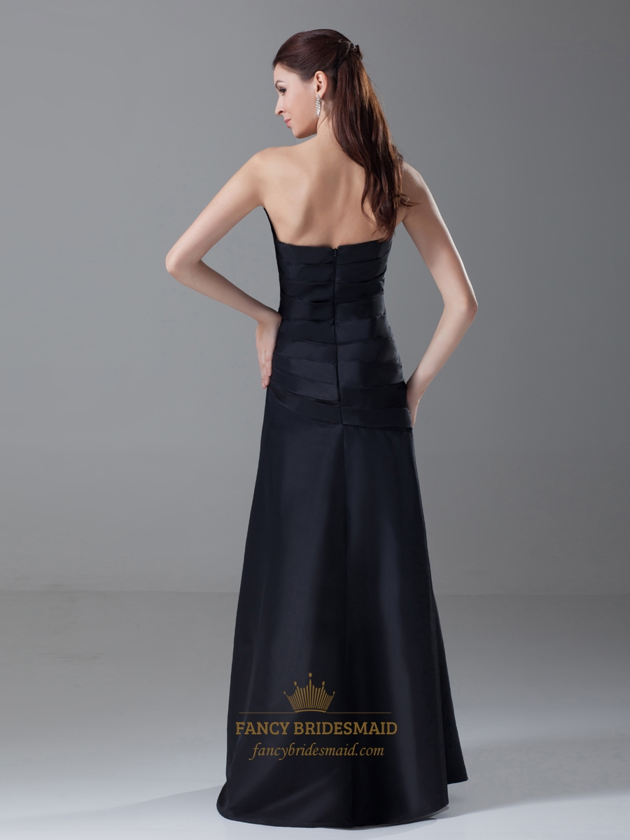 Black Strapless Drop Waist Ruched Prom Dress With Gathered ...