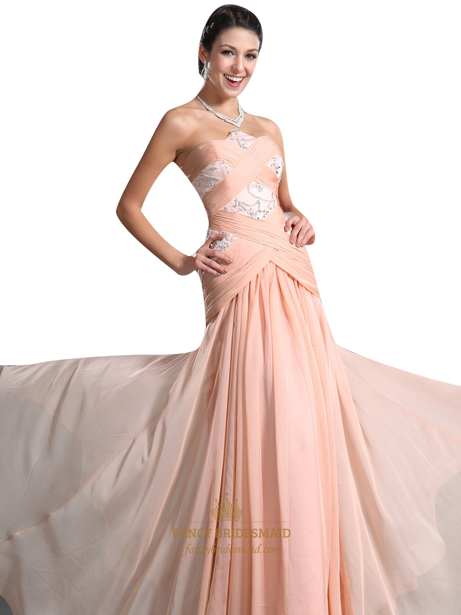 Peach Strapless Drop Waist Chiffon Prom Dresses With Beaded Detail ...