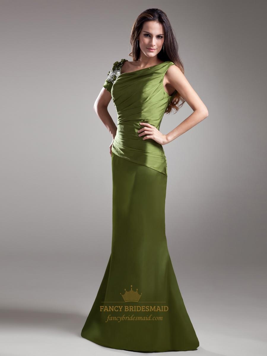 olive green sheath asymmetrical neckline prom dress with