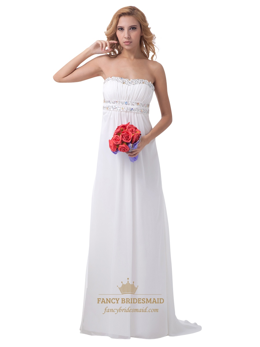 a058aded610 Ivory Strapless Cut Out Back Chiffon Bridesmaid Dress With Beading SKU  -NW1098