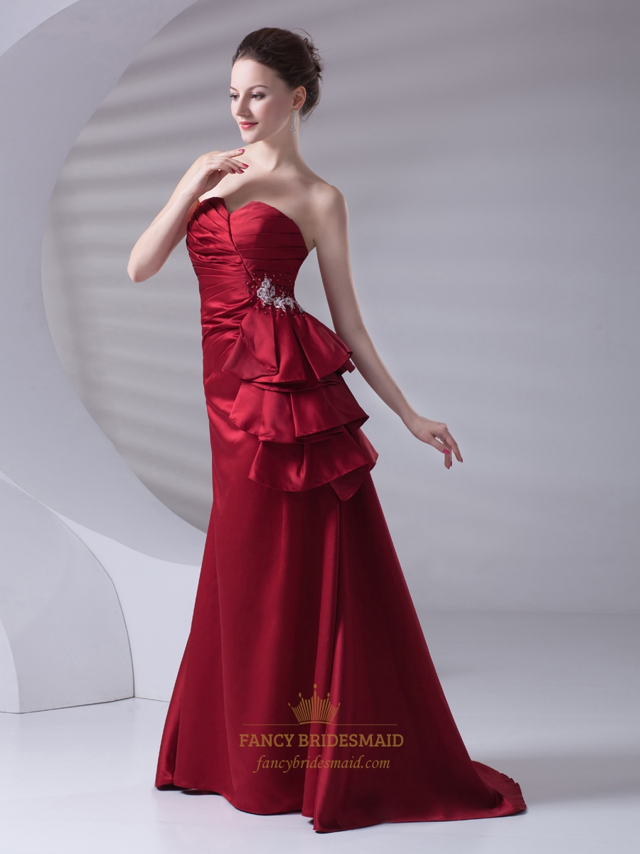 Burgundy Strapless Beaded Lace Up Back Prom Dress With