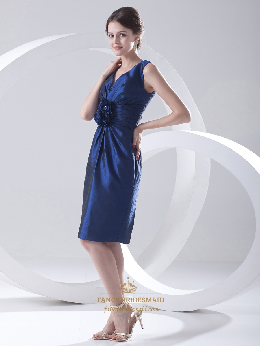 Royal blue taffeta knee length bridesmaid dresses with for Wedding dress with blue detail