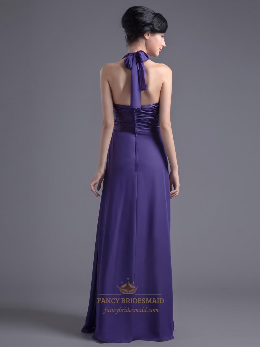 Elegant Purple Halter Neck Chiffon Bridesmaid Dress For