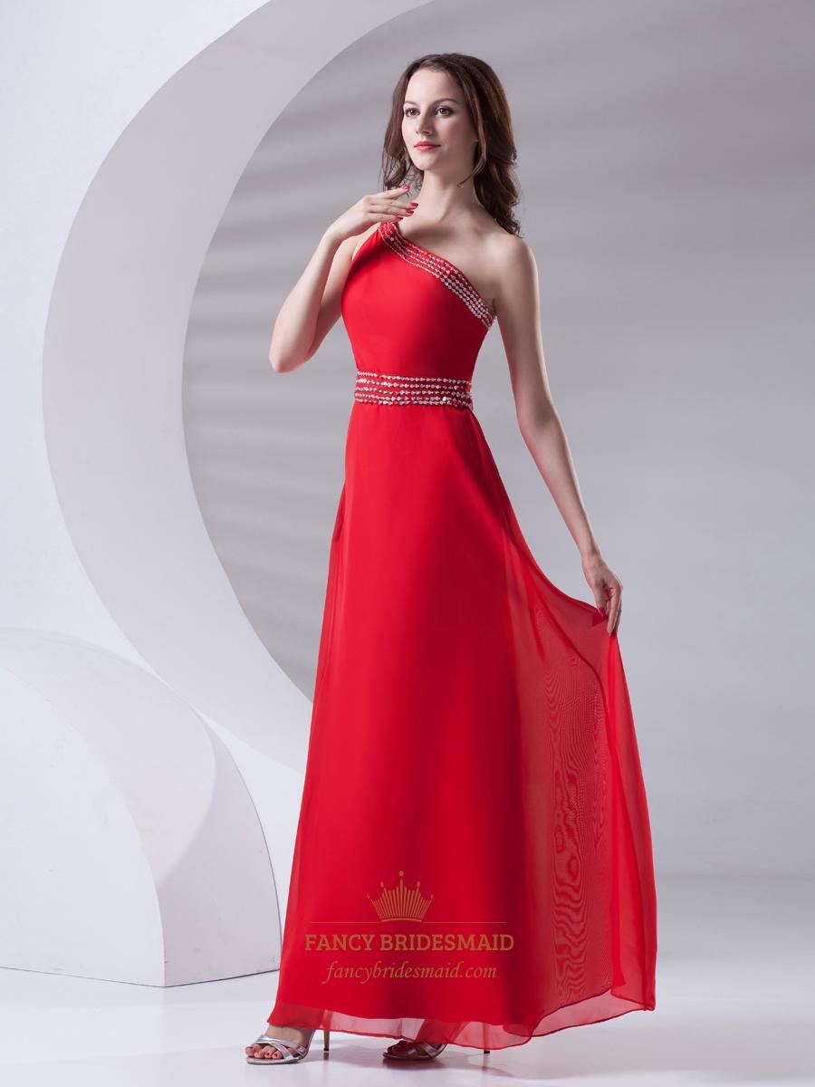 Elegant Red Chiffon One Shoulder Full Length Beaded Prom