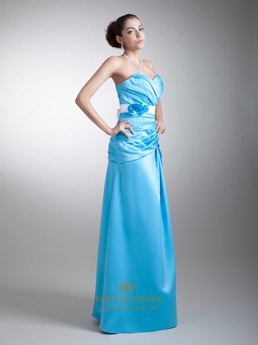 Blue sweetheart dropped waist long bridesmaid dresses with for Blue sash for wedding dress