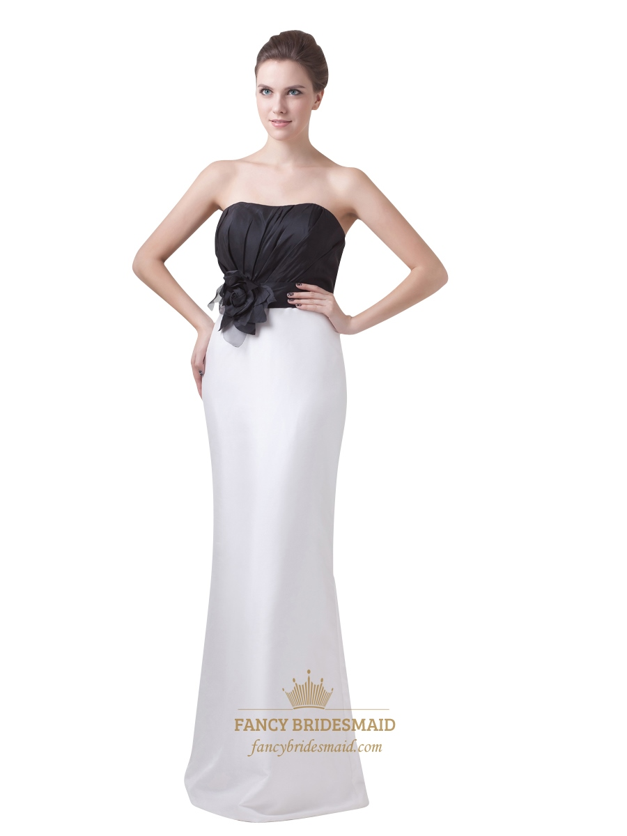 Black And White Strapless Mermaid Bridesmaid Dresses With Flower