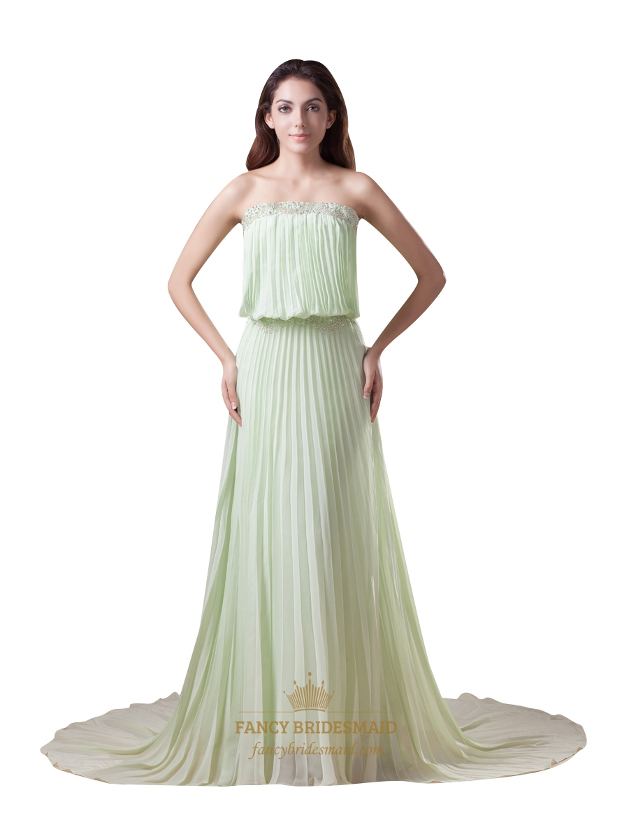 Sage green strapless sweep train chiffon bridesmaid dresses with sage green strapless sweep train chiffon bridesmaid dresses with beading ombrellifo Gallery