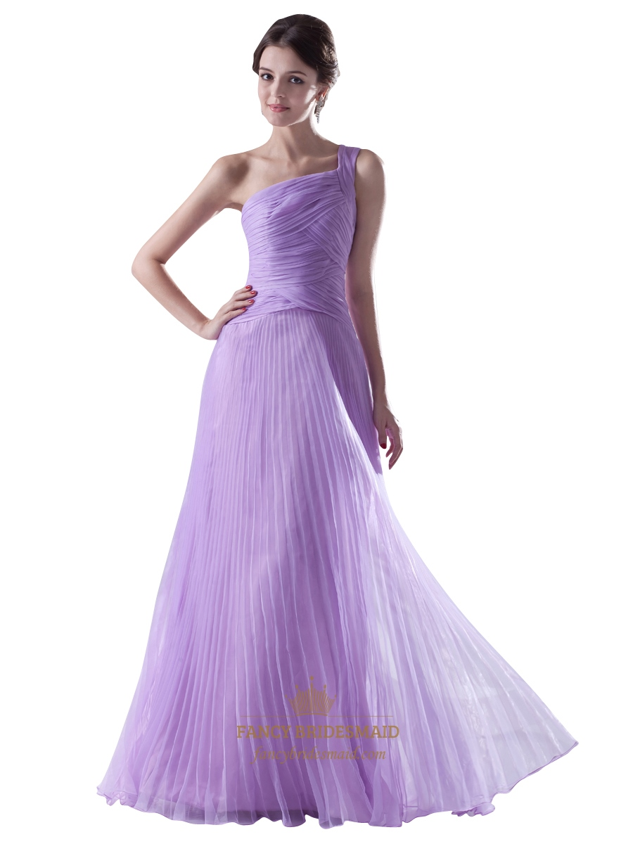 Lilac One Shoulder Crinkle Organza Bridesmaid Dress With Ruched ...