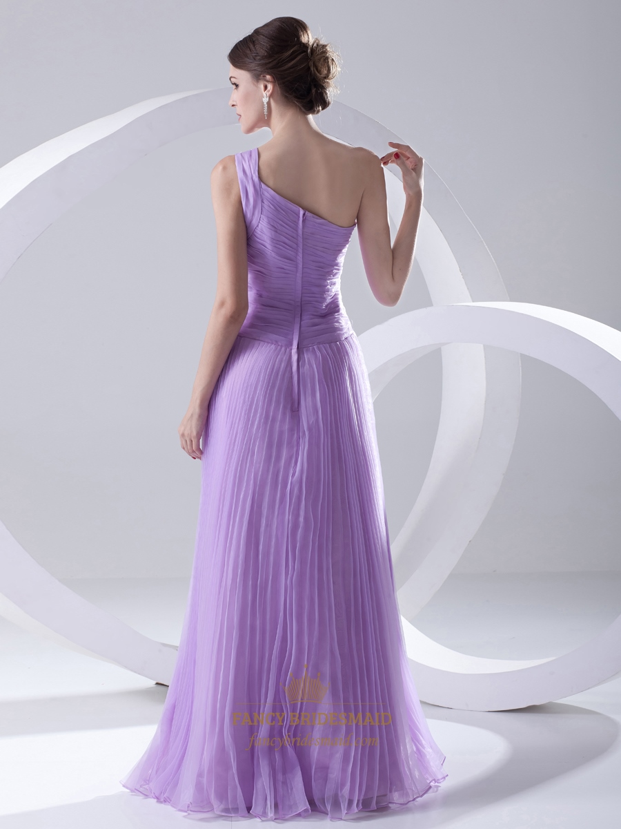 Lilac One Shoulder Crinkle Organza Bridesmaid Dress With ...