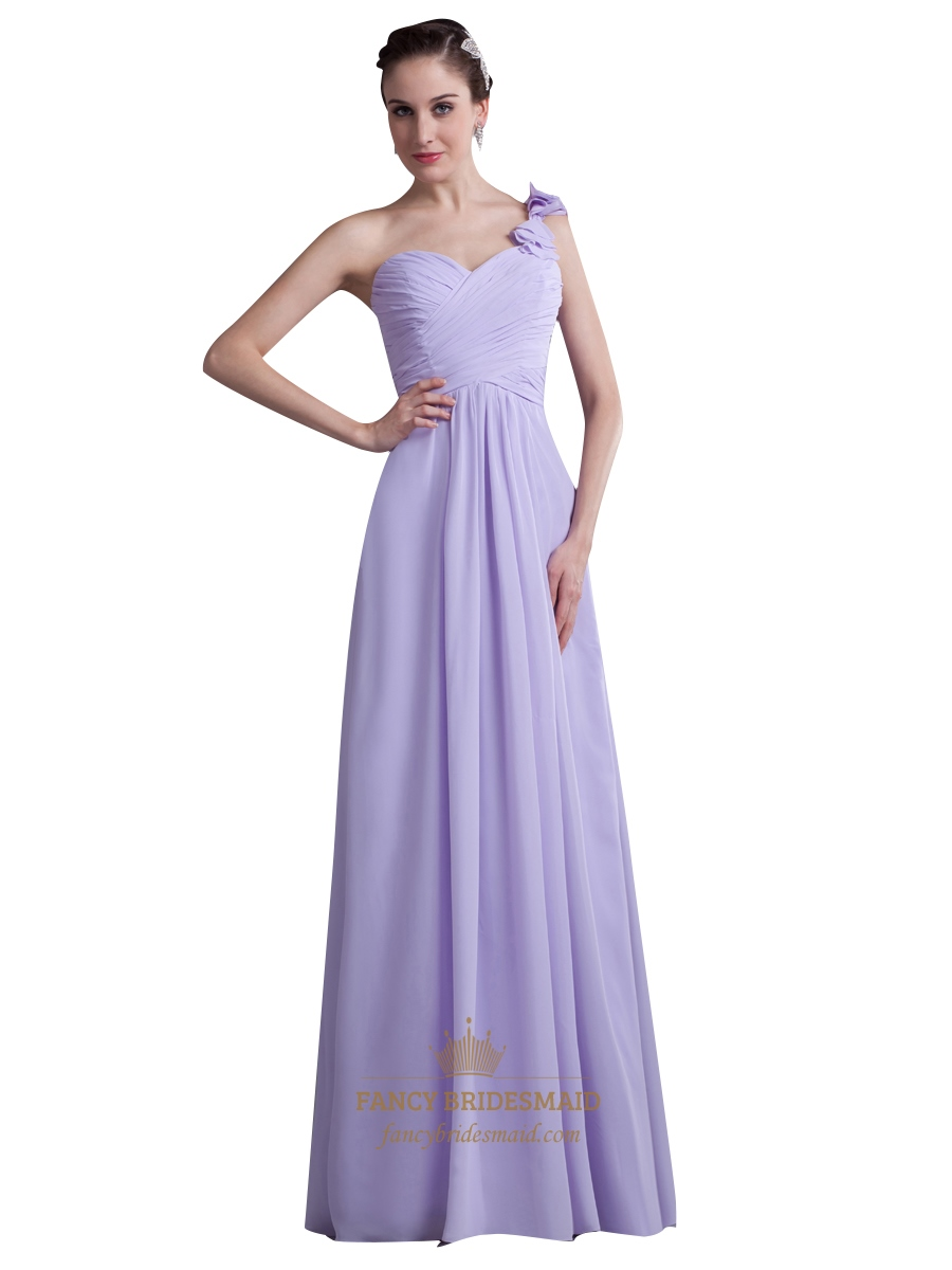 Lilac One Shoulder Flower Strap Bridesmaid Dresses With Ruffle ...