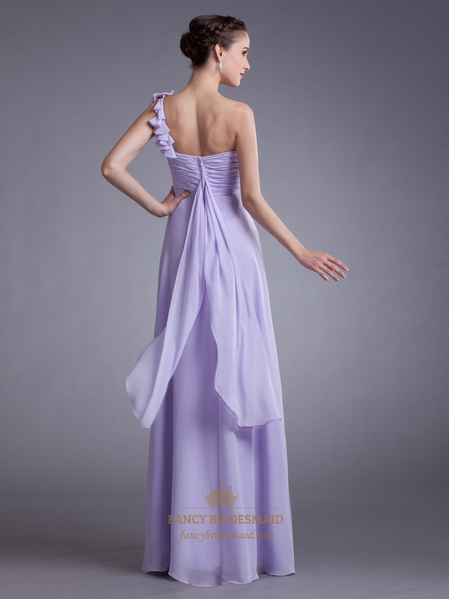 Lilac one shoulder flower strap bridesmaid dresses with for Wedding dresses one strap