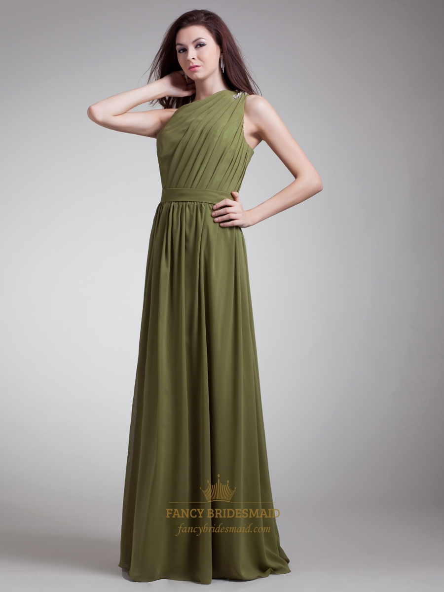 Olive green chiffon one shoulder bridesmaid dresses with for Olive green wedding dresses
