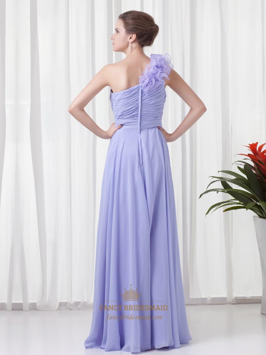 Lavender One Shoulder Flower Strap Bridesmaid Dresses With Cascading ...