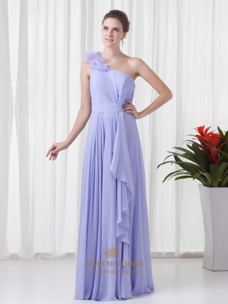 Lavender One Shoulder Flower Strap Bridesmaid Dresses With Cascading ...