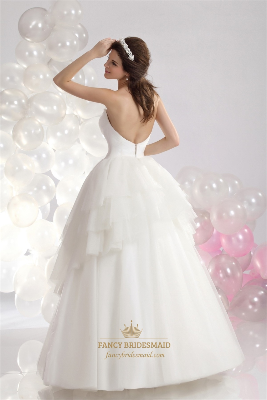 Ivory sweetheart layered tulle skirt wedding dress bead for Tulle layered wedding dress