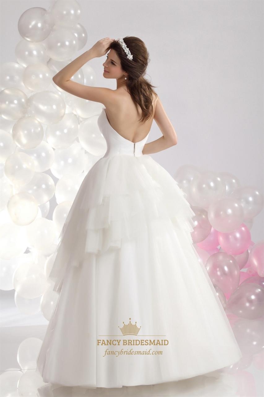 Ivory Sweetheart Layered Tulle Skirt Wedding Dress Bead