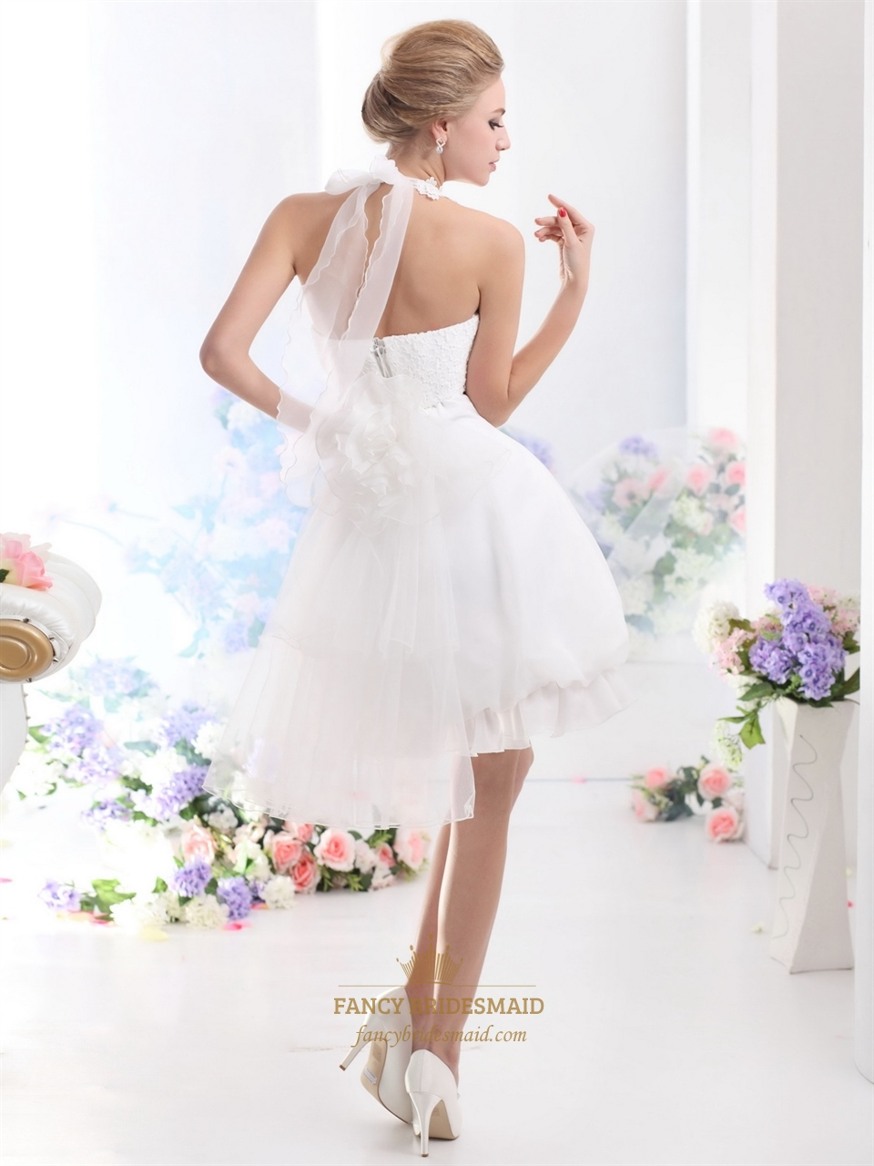 White short halter neck wedding dresses with pearls and for Lace wedding short dress