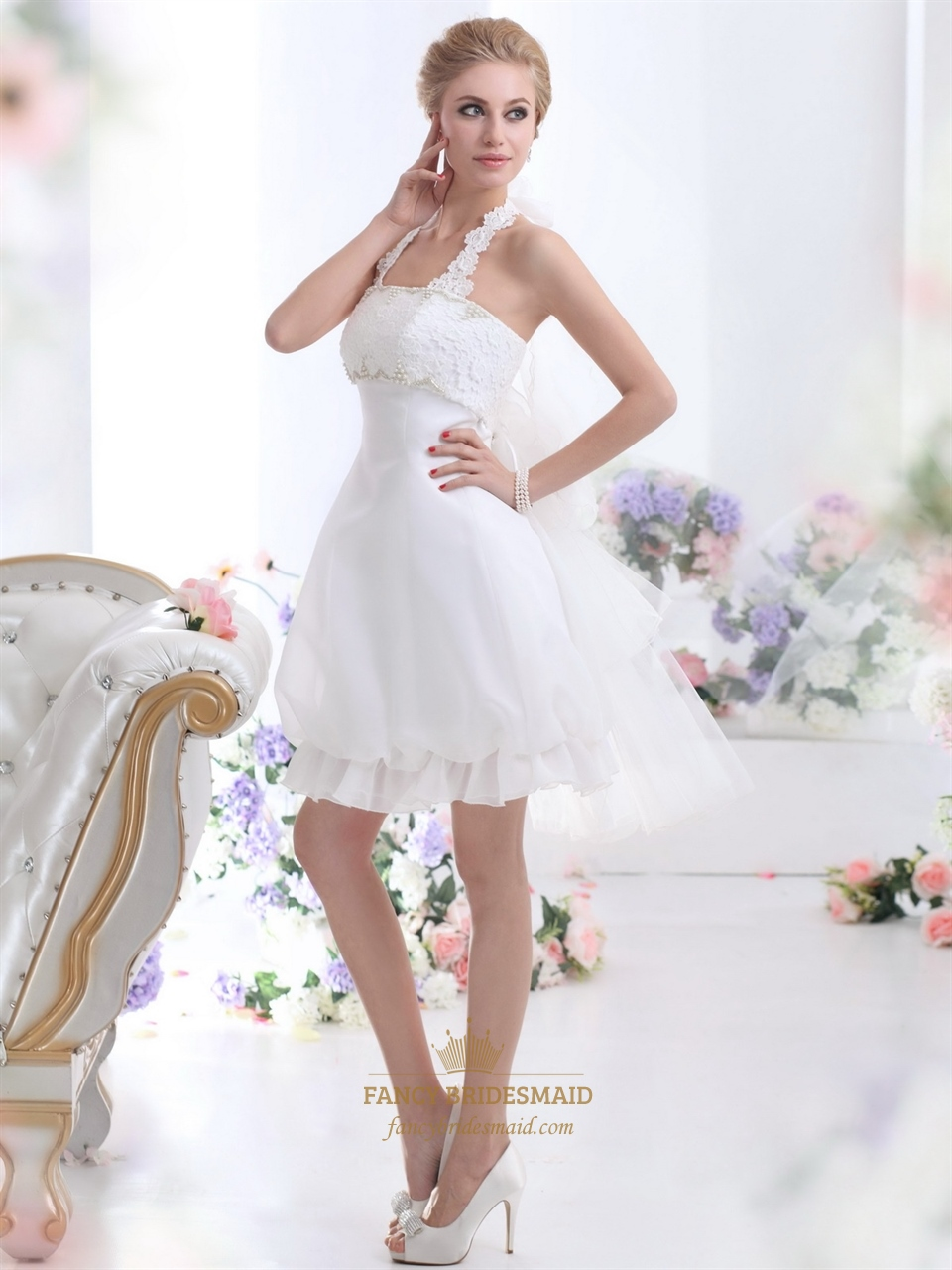 White short halter neck wedding dresses with pearls and for Where to buy short wedding dresses