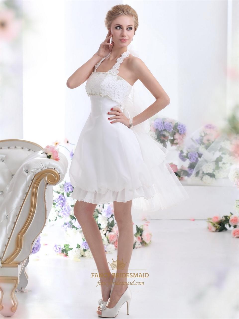 White short halter neck wedding dresses with pearls and for Lace wedding dress with pearls