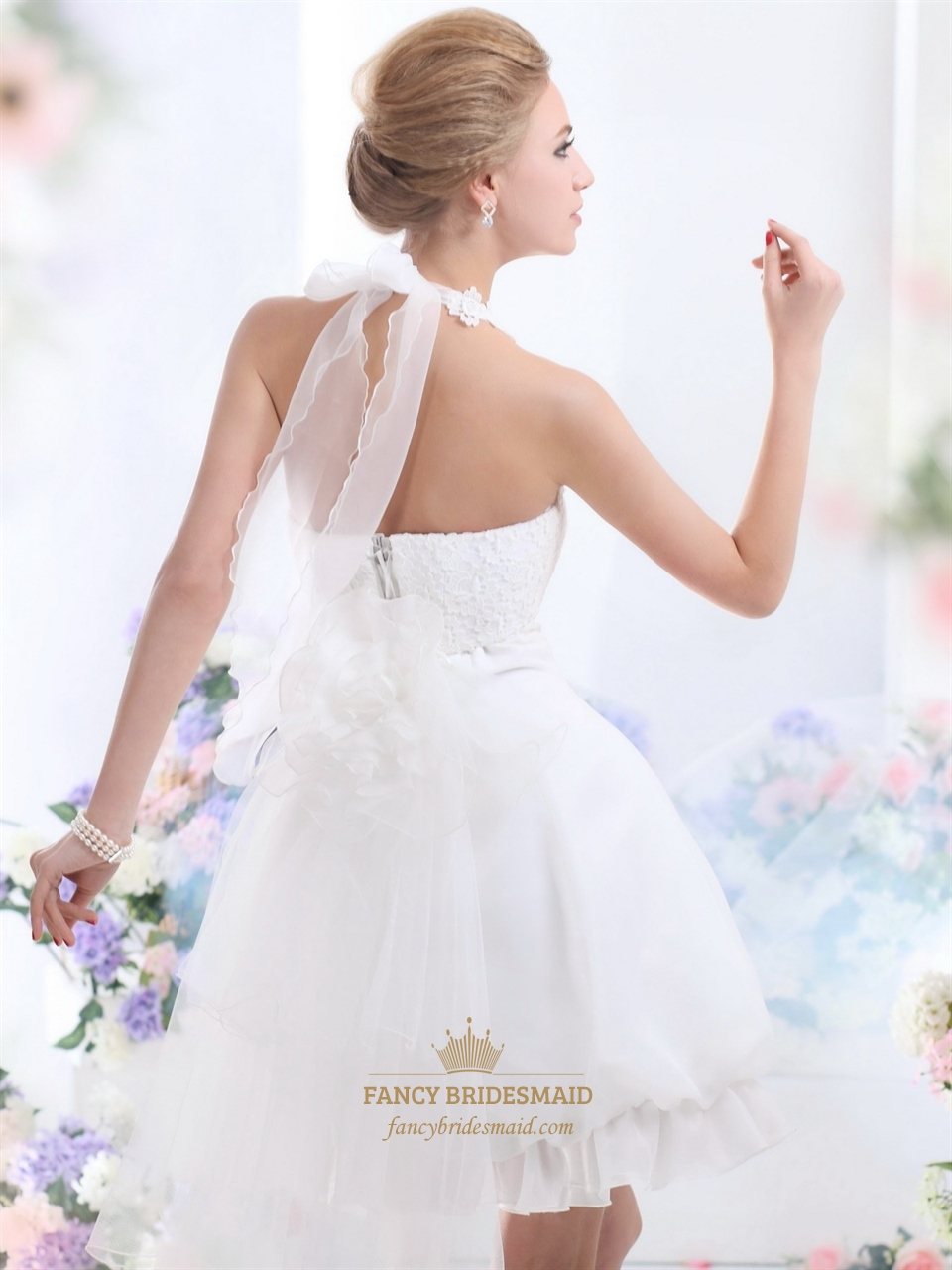 White Short Halter Neck Wedding Dresses With Pearls And Lace Bodice ...