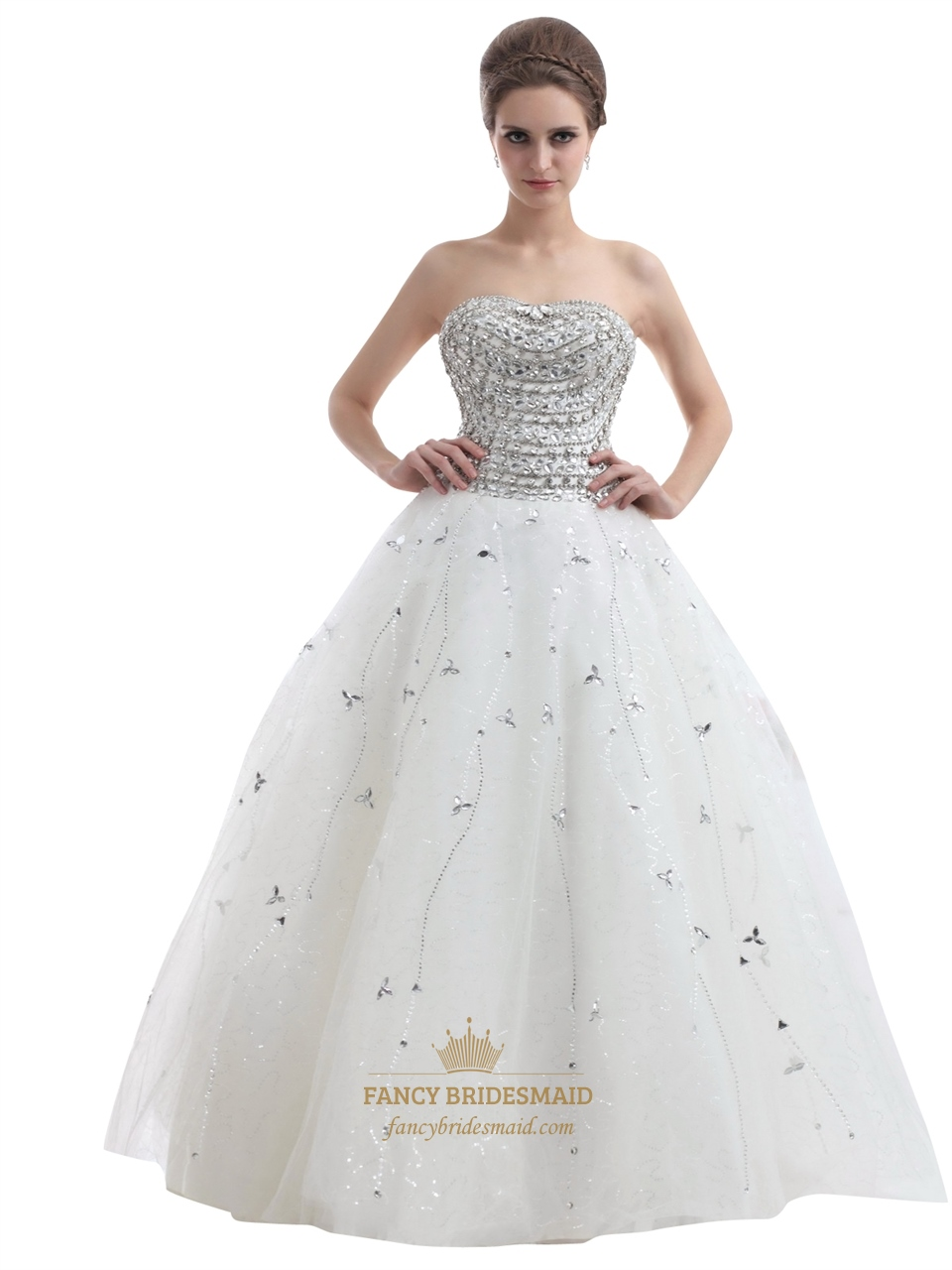 Ivory Strapless Heavily Beaded Bodice Tulle Ball Gown Wedding ...