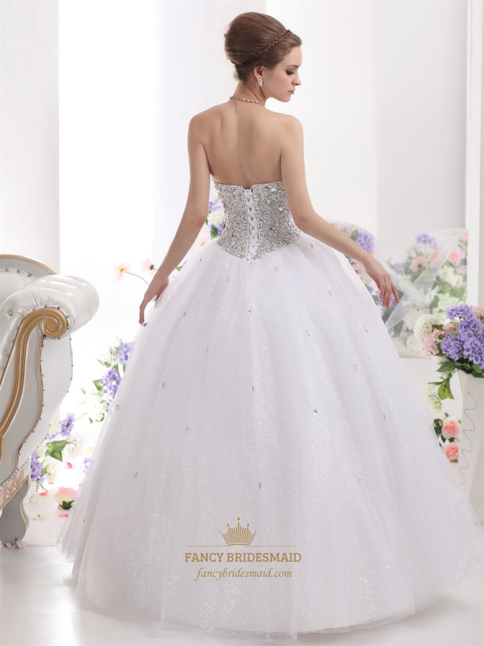 White sweetheart neckline sequin bodice wedding dress with for Sweetheart neckline wedding dress with bling