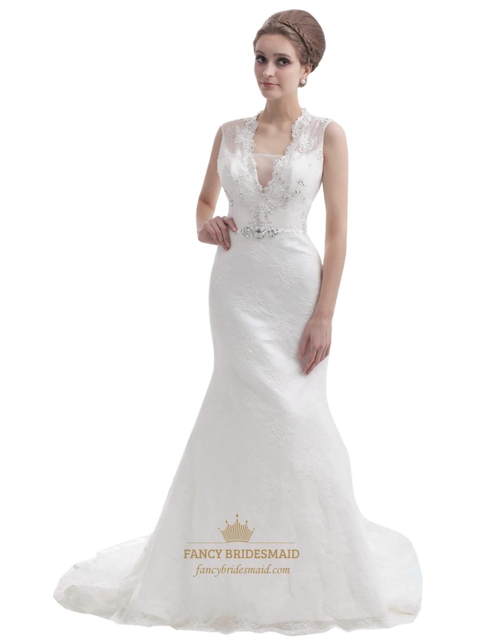 Ivory lace mermaid keyhole back wedding dress with for Wedding dresses with keyhole back