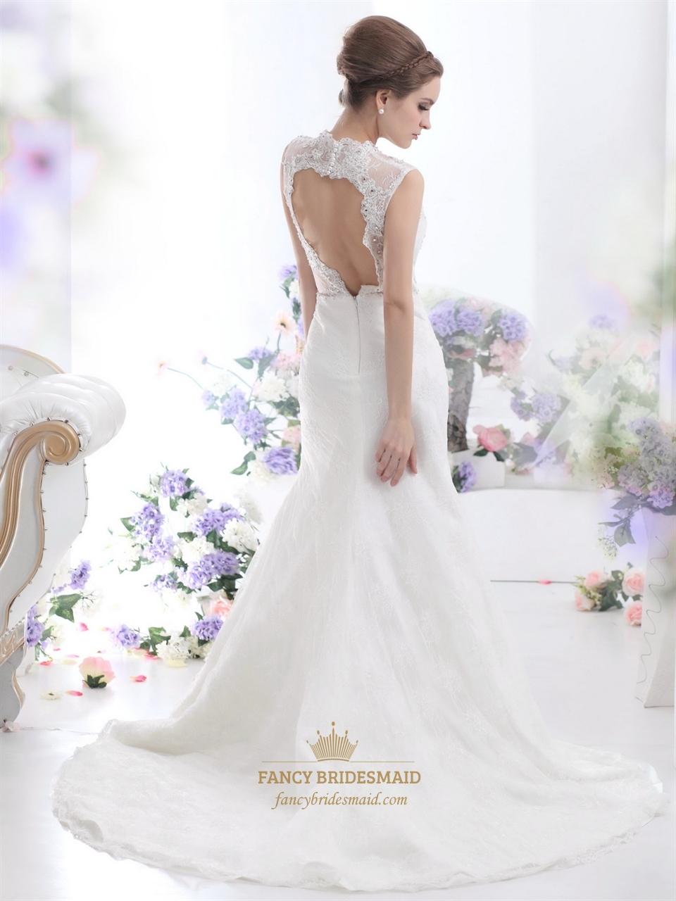 Ivory lace mermaid keyhole back wedding dress with for Wedding dress with keyhole back