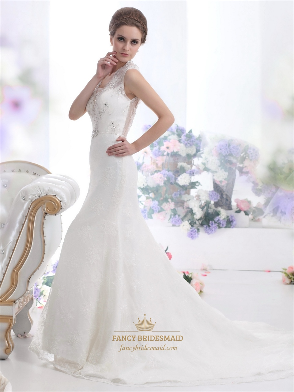 Ivory lace mermaid keyhole back wedding dress with for Keyhole back wedding dresses