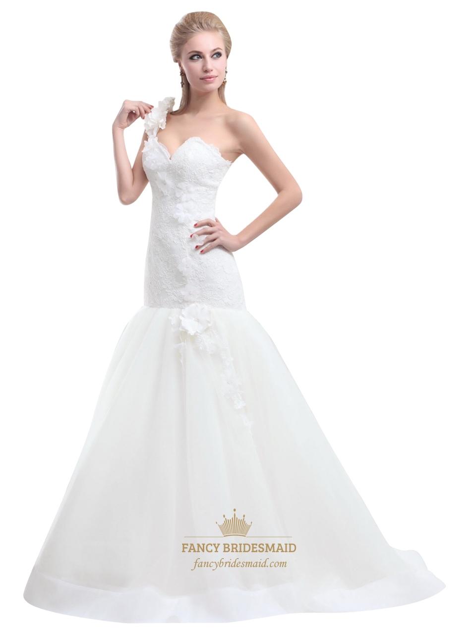 Ivory One Shoulder Flower Strap Mermaid Lace Bodice Tulle Wedding ...
