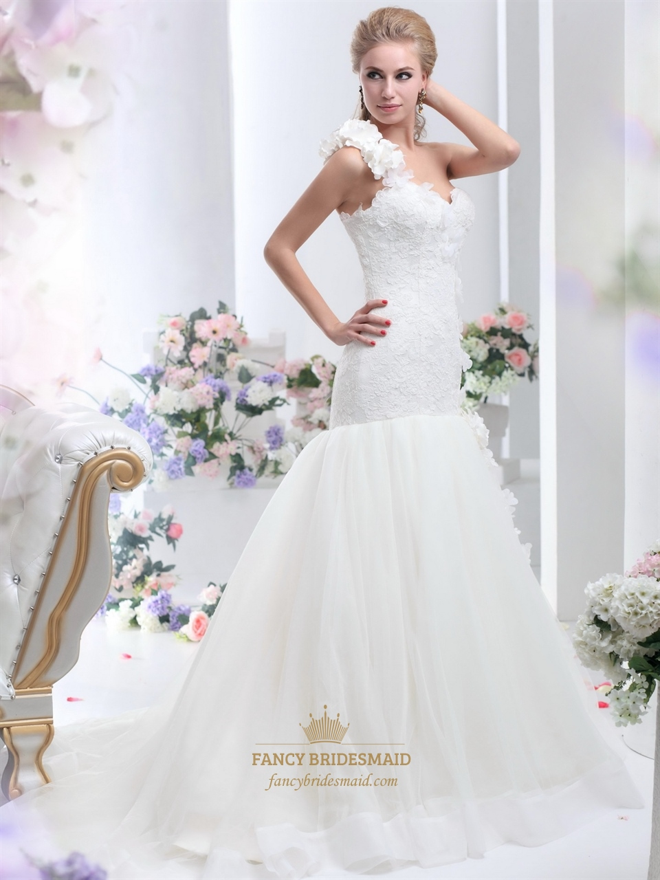 Ivory one shoulder flower strap mermaid lace bodice tulle for One strap wedding dress