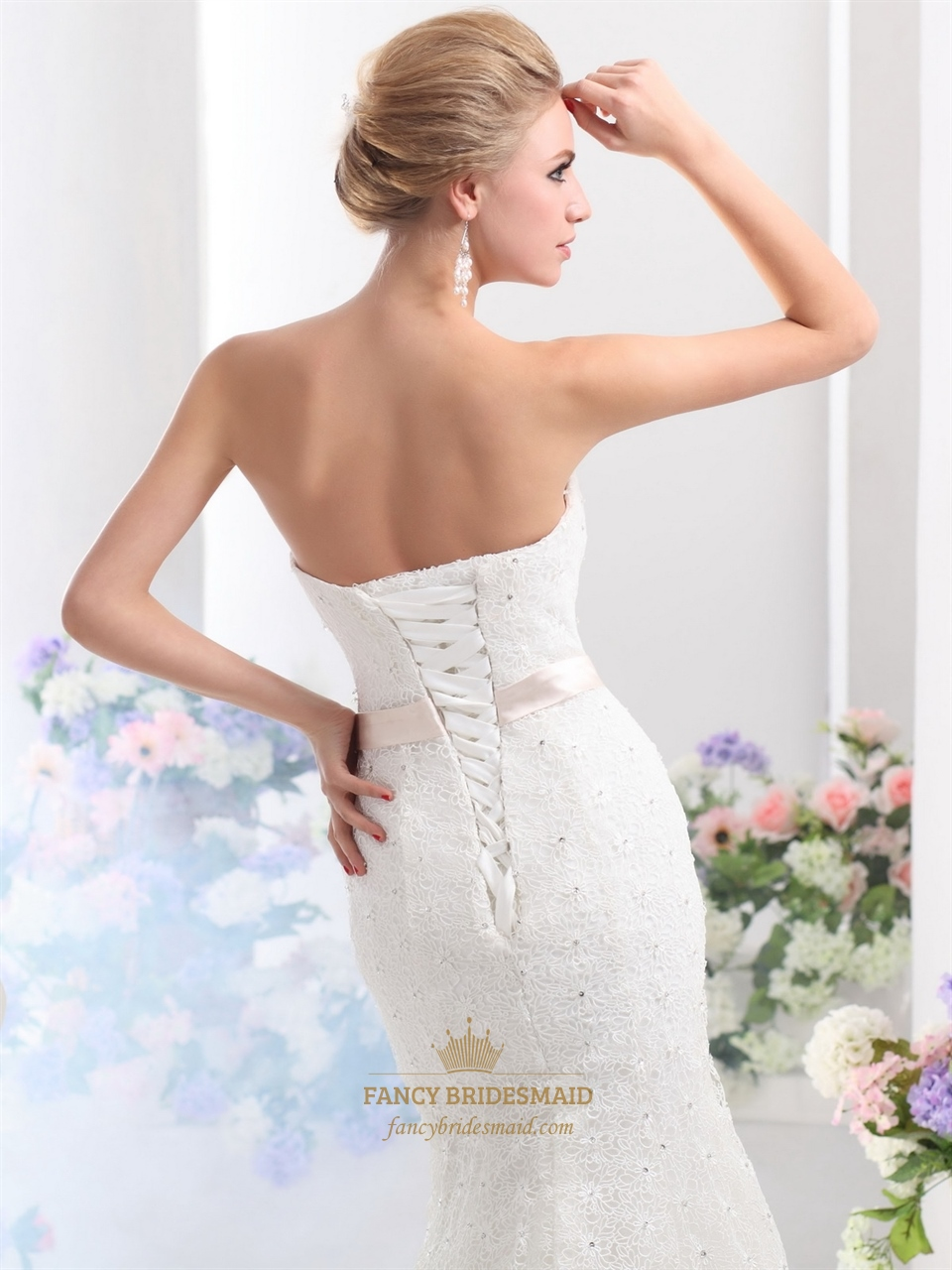 white lace mermaid sweetheart lace up back wedding dress