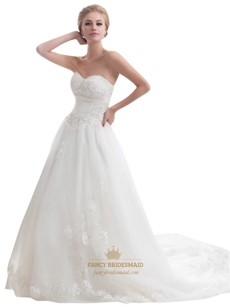 Ivory Strapless Beaded Tulle Wedding Dress With Beaded