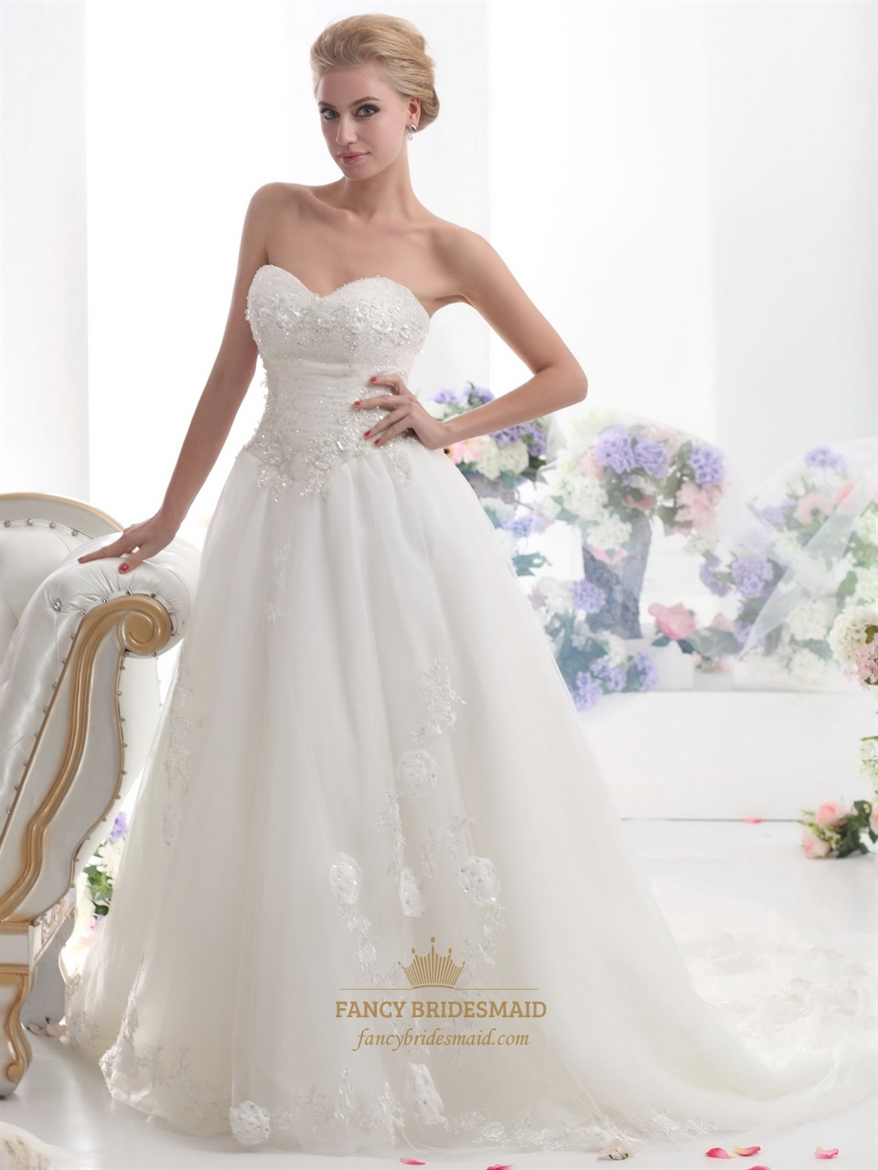 Ivory strapless beaded tulle wedding dress with beaded for Ivory beaded wedding dress